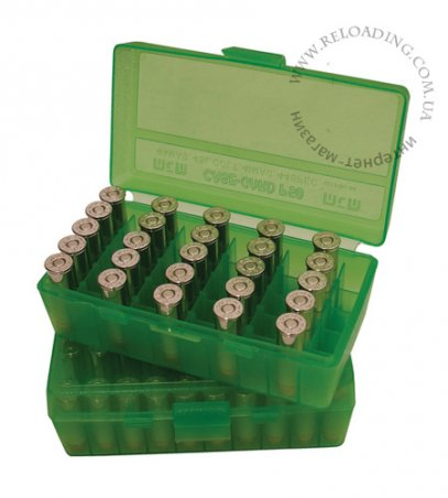 Коробка МТМ для патронов калибра 357 Mag, 38 Auto (на 50 патронов)